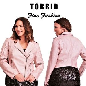 Torrid ROSE GOLD METALLIC FAUX LEATHER MOTO JACKET
